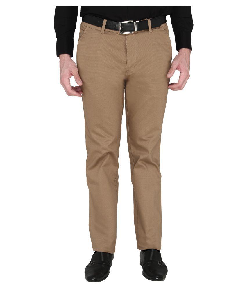Zido Brown Slim -Fit Flat Trousers