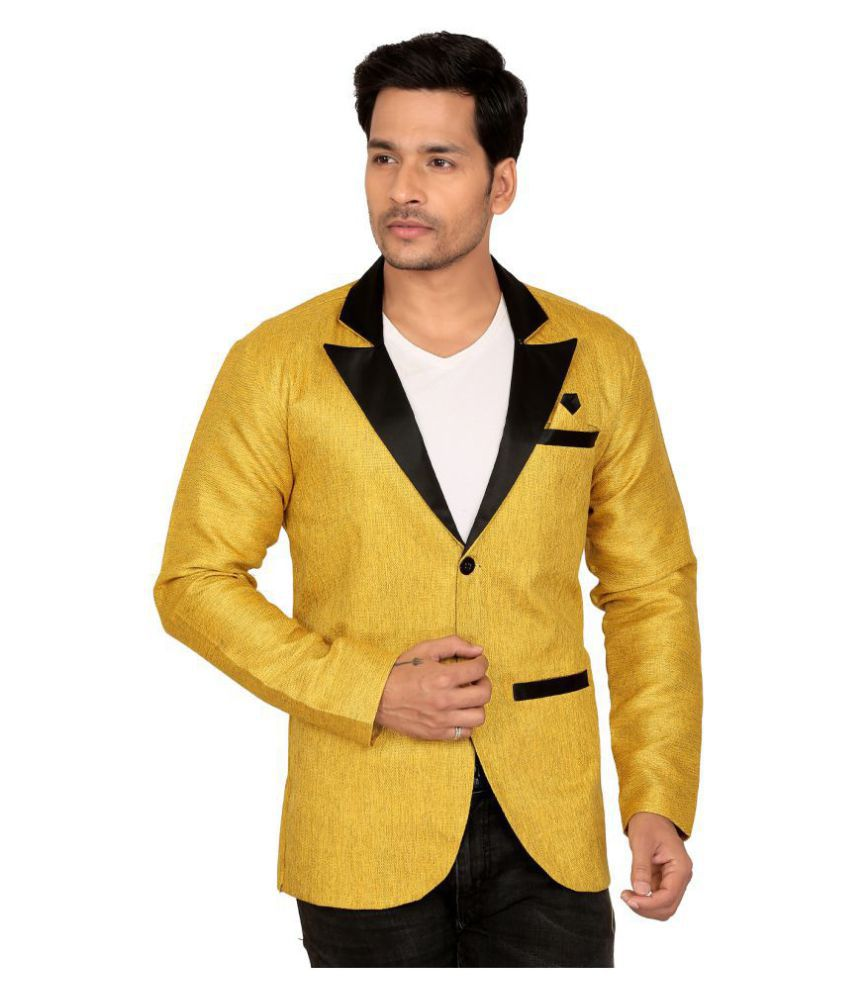 nu abc garments Yellow Solid Casual Blazers