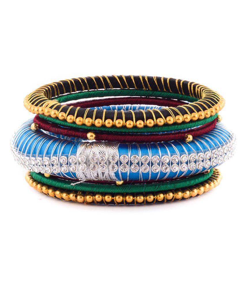 Handmade Beautiful Silk Dori Plastic Bangles Set
