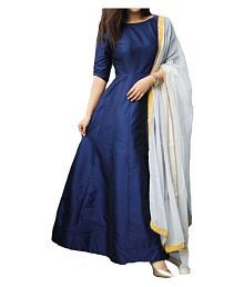 Dwarkesh Fashion Blue Taffeta Anarkali Gown Semi-Stitched Suit