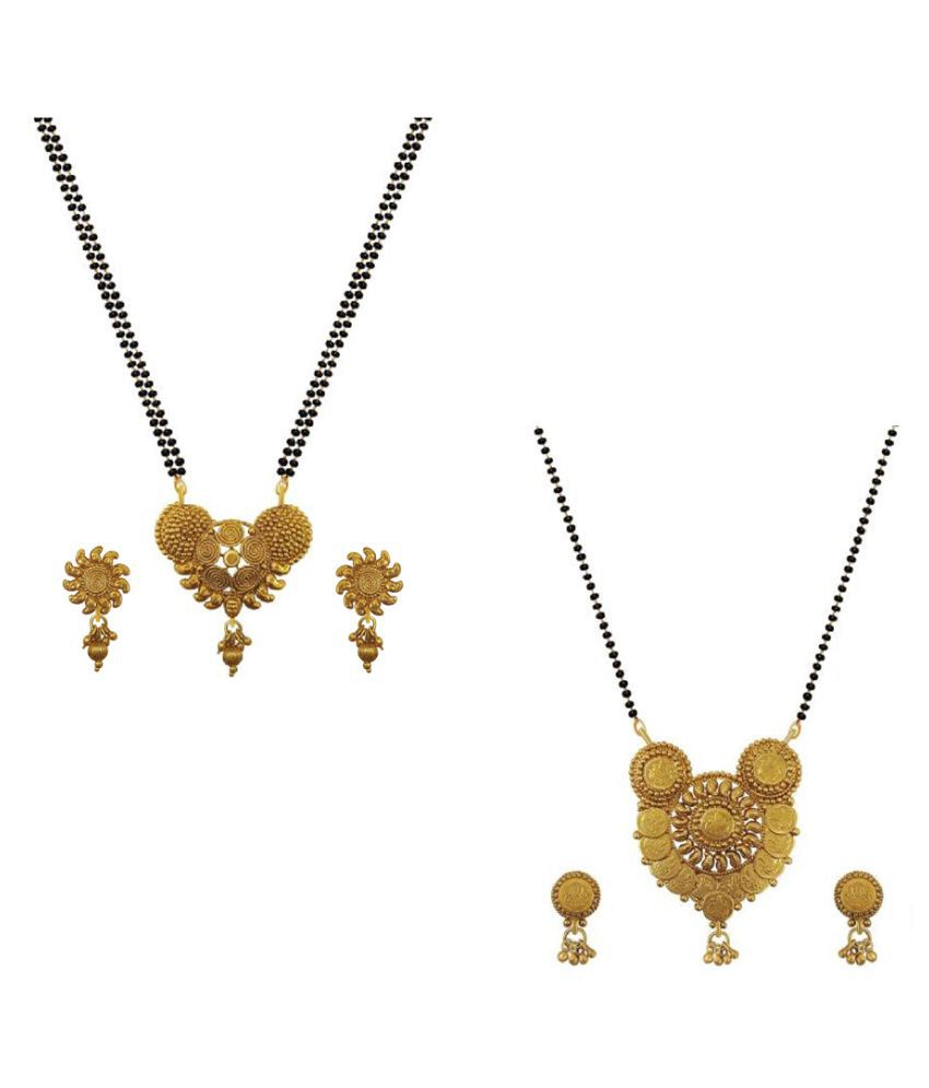 Aabhu Classic Combo of 2 Mangalsutra with Chain and Earrings Jewellery Set for Women