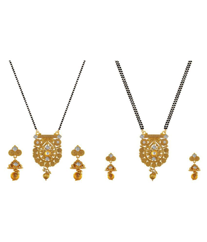 Aabhu Conventional Combo of 2 Mangalsutra with Chain and Earrings Jewellery Set for Women