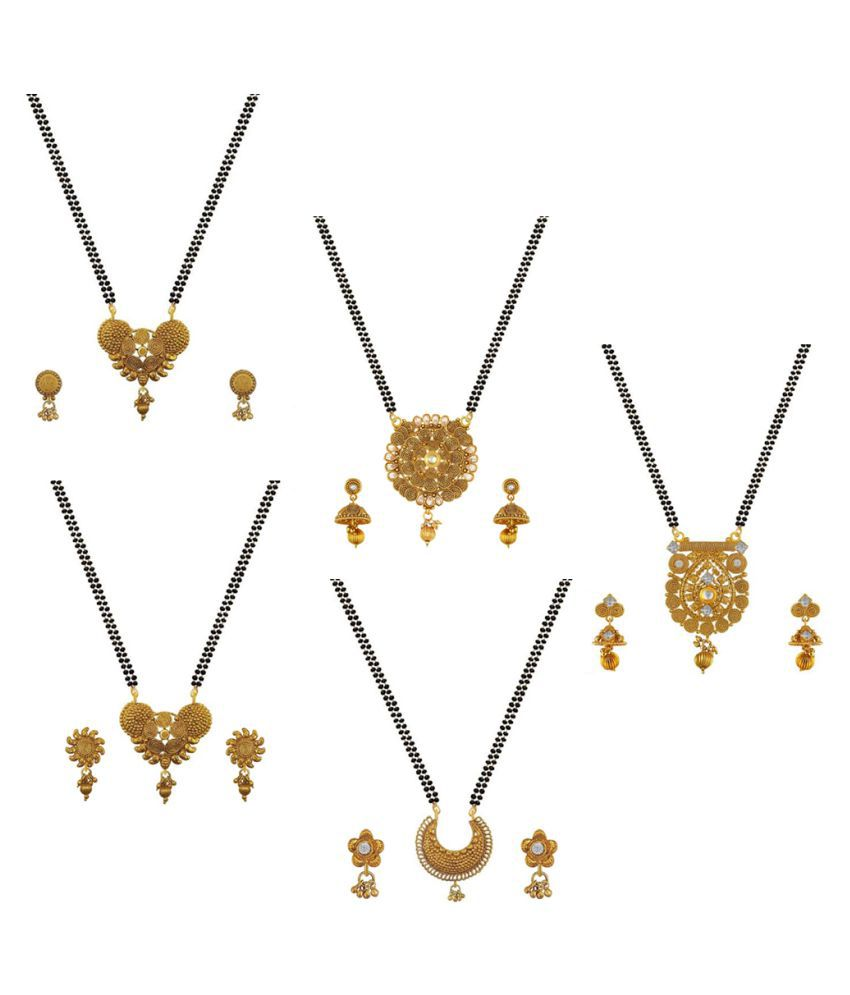 Aabhu Traditional Combo of 5 Mangalsutra with Chain and Earrings Jewellery Set for Women