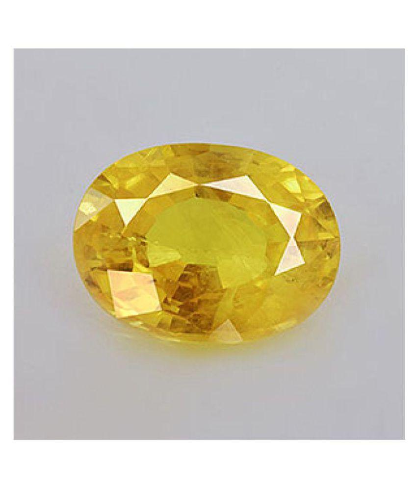 Rasav Jewels 2.043 -Ratti Self certified Yellow Yellow Sapphire (Pukhraj) Precious Gemstone