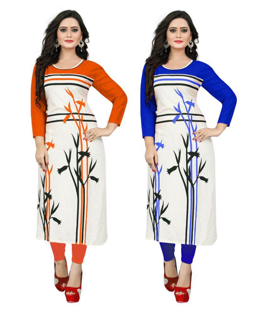 SKS FASHION Multicoloured Rayon Straight Kurti