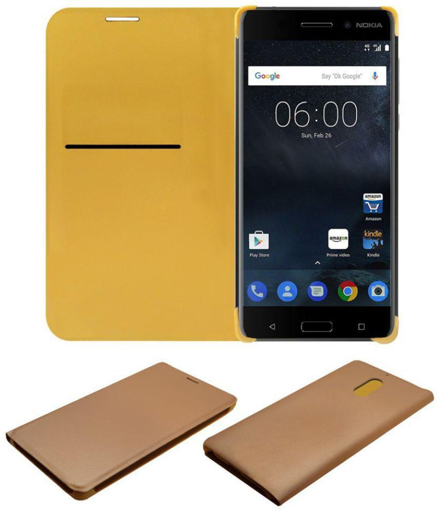 info for c4072 46155 Nokia 6 Flip Cover by ACM - Golden