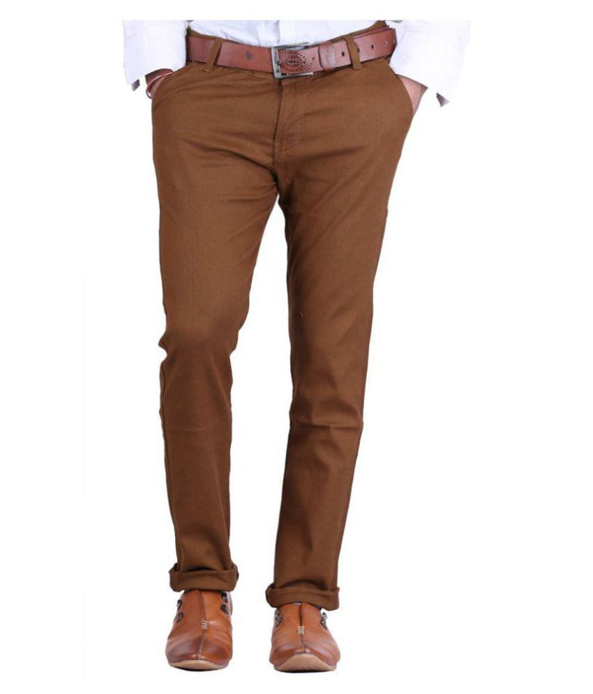 UrAmbitious Brown Slim -Fit Flat Trousers