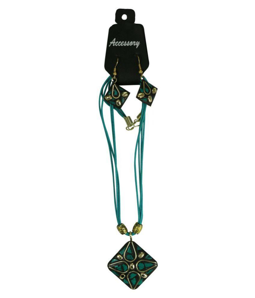 Green leather thread Designer Tibetan Necklace With Antique Pendant Earring set for Women and Girls