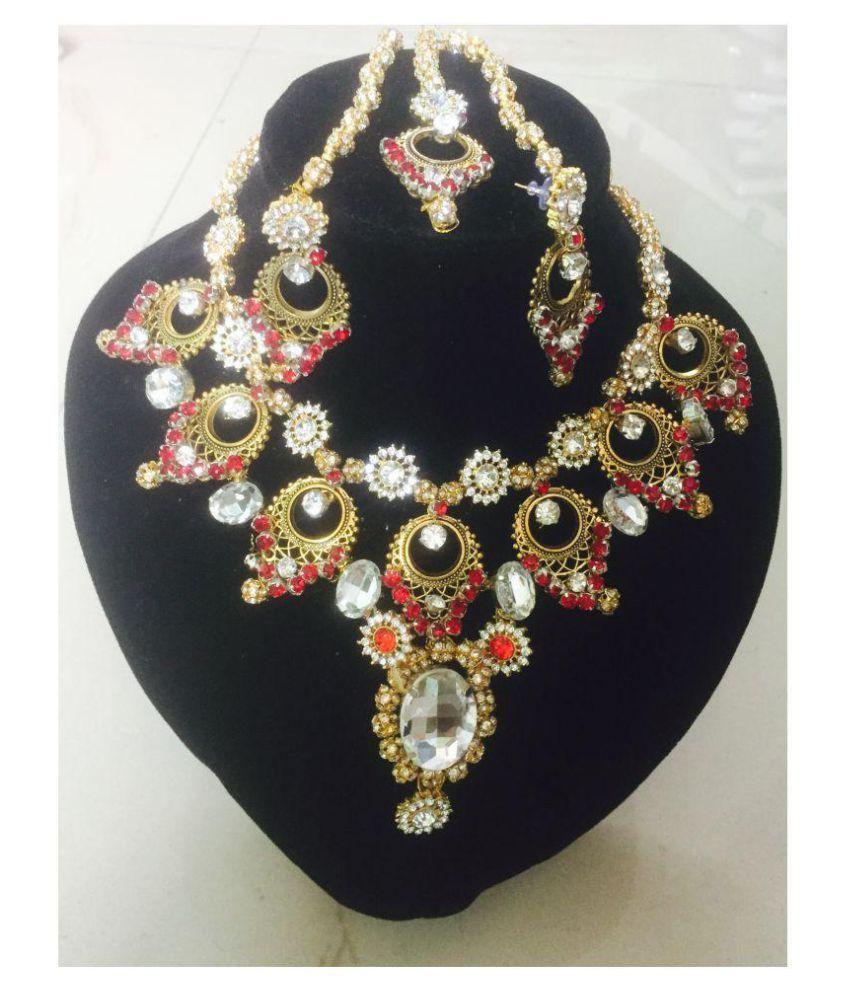 Bridal maroon crystal brass necklace set