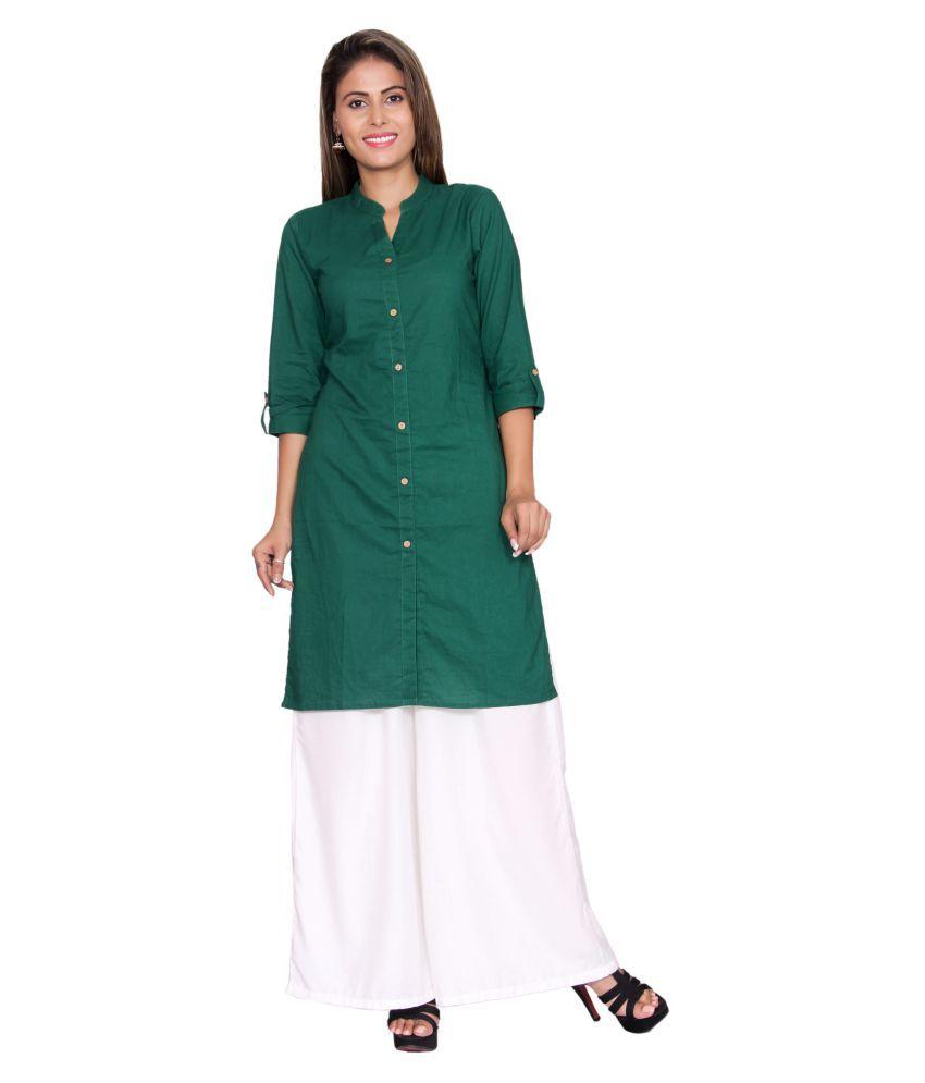 JTInternational Green Cotton Straight Kurti