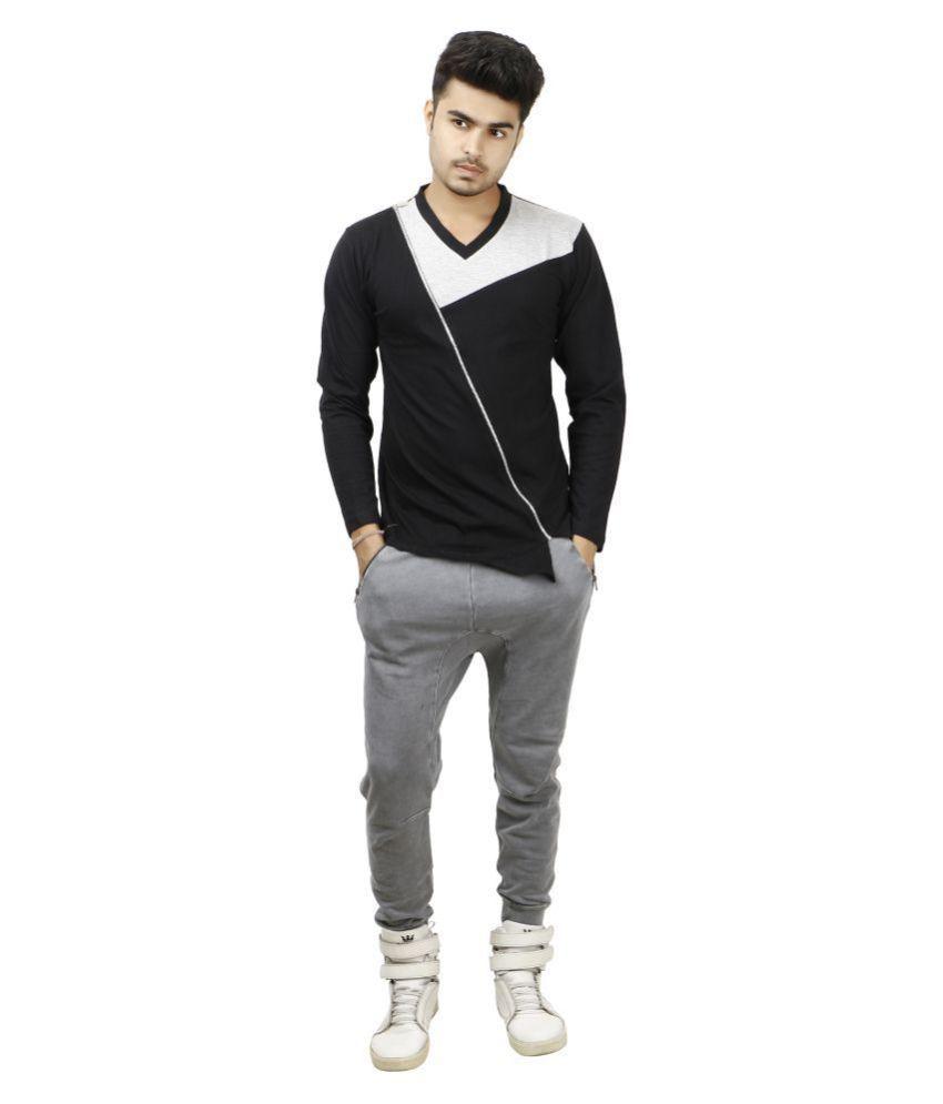 zcell Black V-Neck T-Shirt