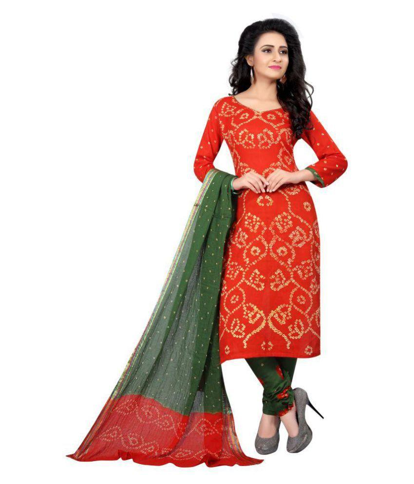 SVB SAREES Red Art Silk Dress Material