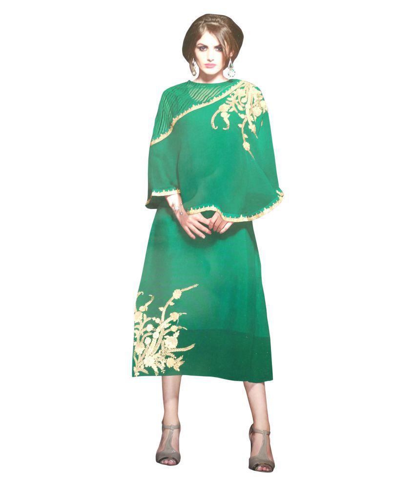 K&G Green Georgette A-line Kurti