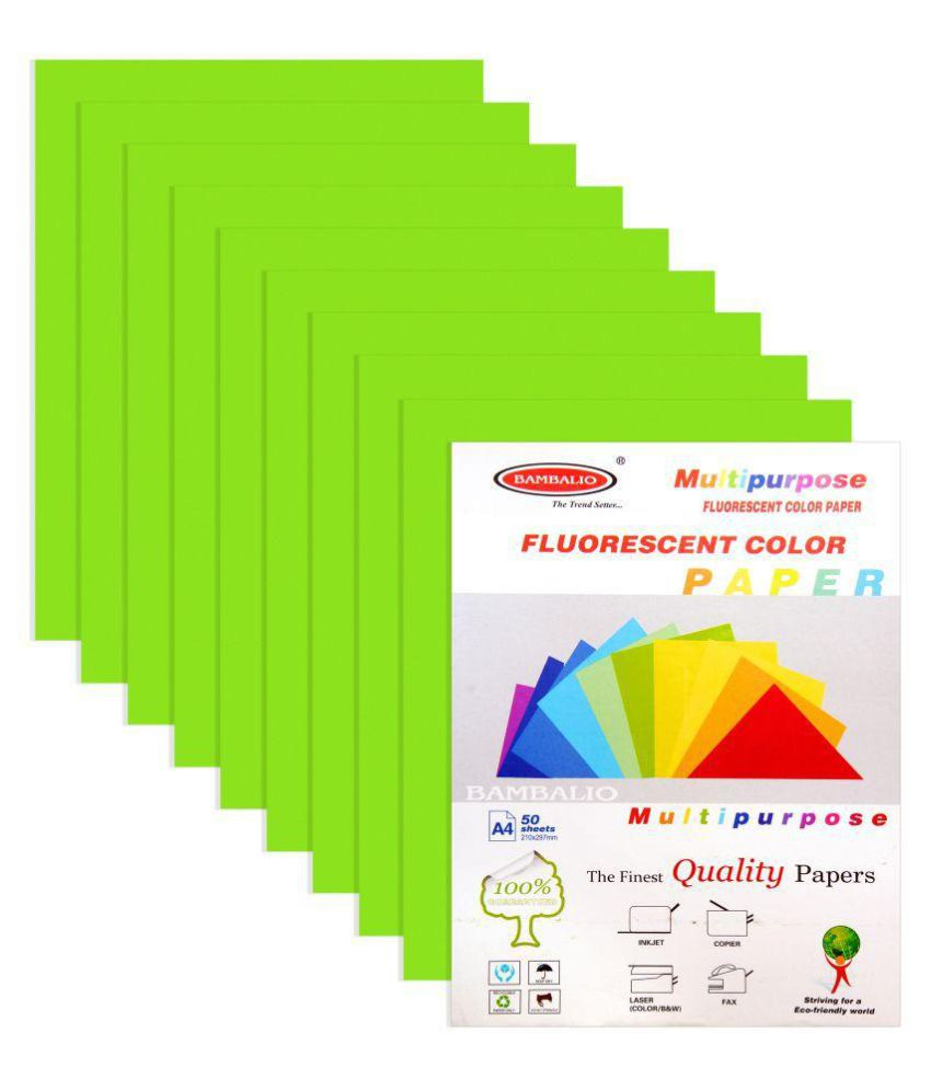 Bambalio Fluorescent Colour Paper Pack Of 250 Sheets Smooth Finish ...