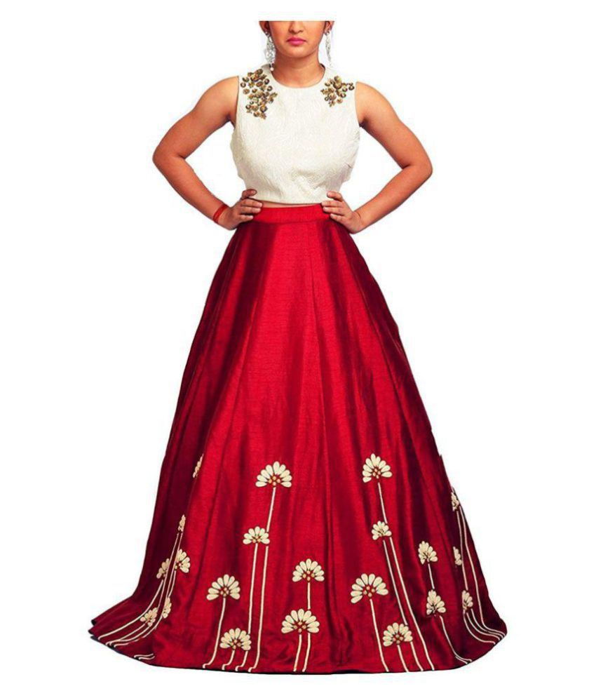 bd5be95f2c Drashti Villa White and Red Taffeta Semi Stitched Lehenga - Buy Drashti  Villa White and Red Taffeta Semi Stitched Lehenga Online at Best Prices in  India on ...