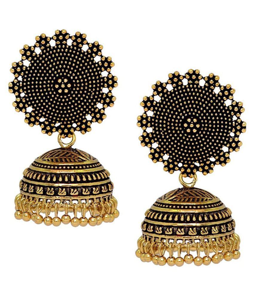 Om Jewells Oxidized Finish Jhumki Earrings made for Girls and Women ER1000044GLD