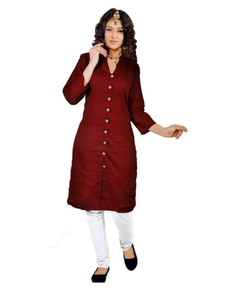 783fd44475 Trusha Dresses Maroon Cotton Silk A-line Kurti - Buy Trusha Dresses Maroon  Cotton Silk A-line Kurti Online at Best Prices in India on Snapdeal