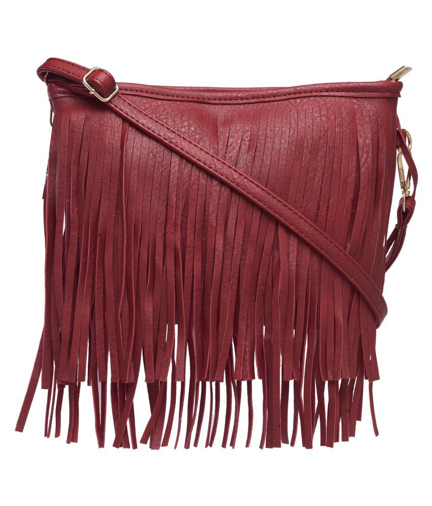 Kielz Red Faux Leather Sling Bag
