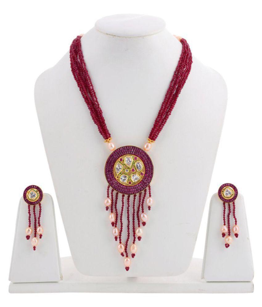 Tistabene Designer Stylish Fancy Party Wear Beaded Necklace Setq