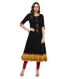Rama Black Cotton Anarkali Kurti