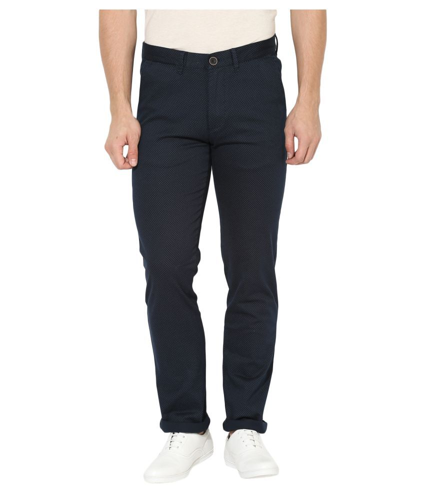 Red Tape Navy Blue Slim -Fit Flat Trousers