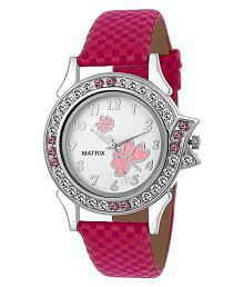 Matrix Analog White Pink Dial Pink Leather Strap Wrist Watch For Girls And Womens