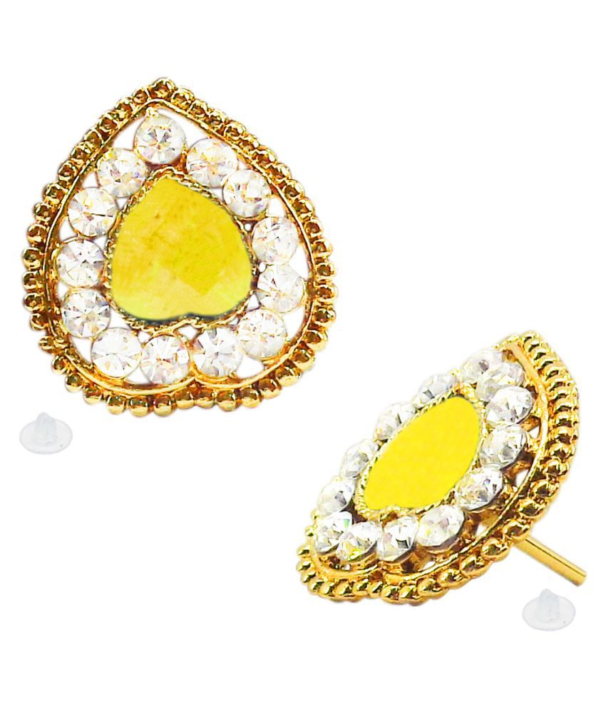 Slks India Craft-New Bollywood Designer and Anniversary or Partywear  Yellow Heart Earrings
