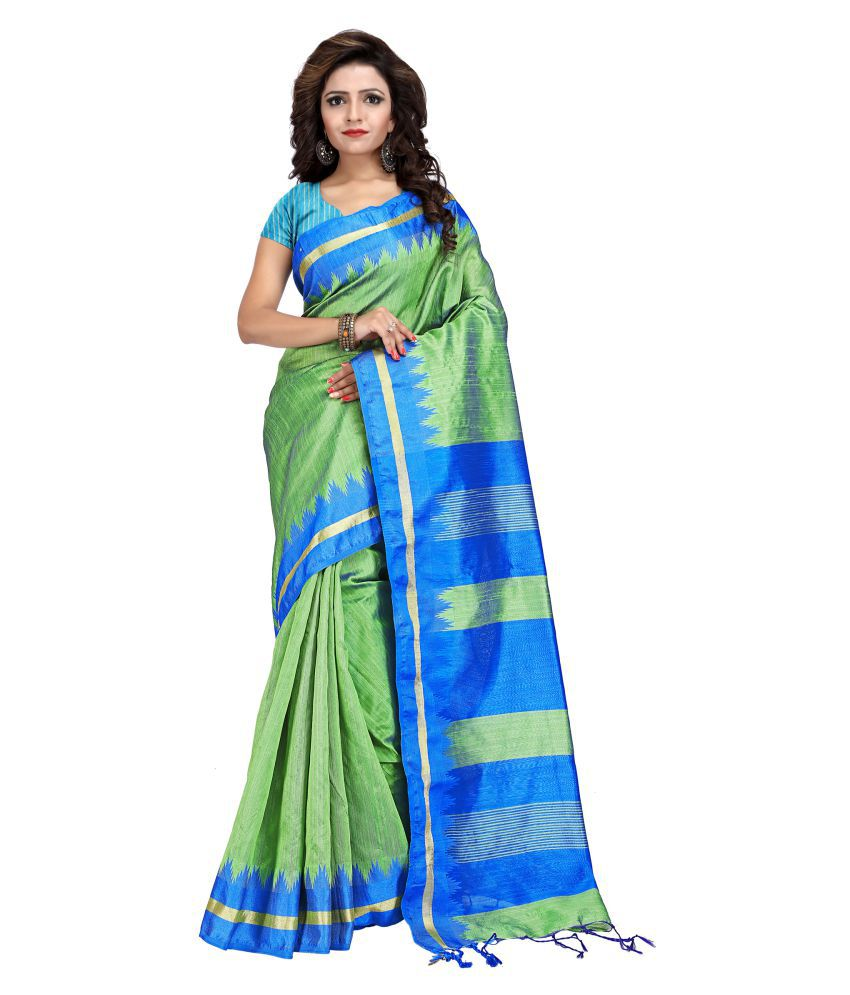 Just Fashion Green and Blue Art Silk Saree