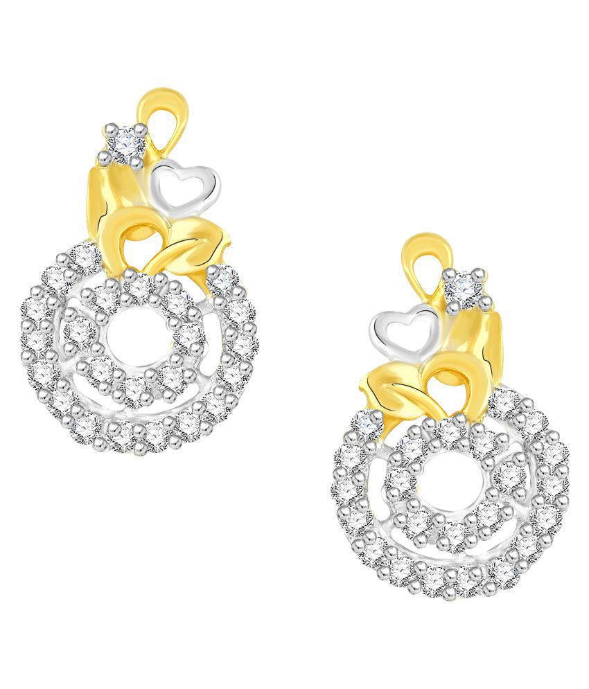 VShine Gold Plated Design Crystal Circle Stud Earring for Girls & Women made with Cubic Zirconia - VSERG1343
