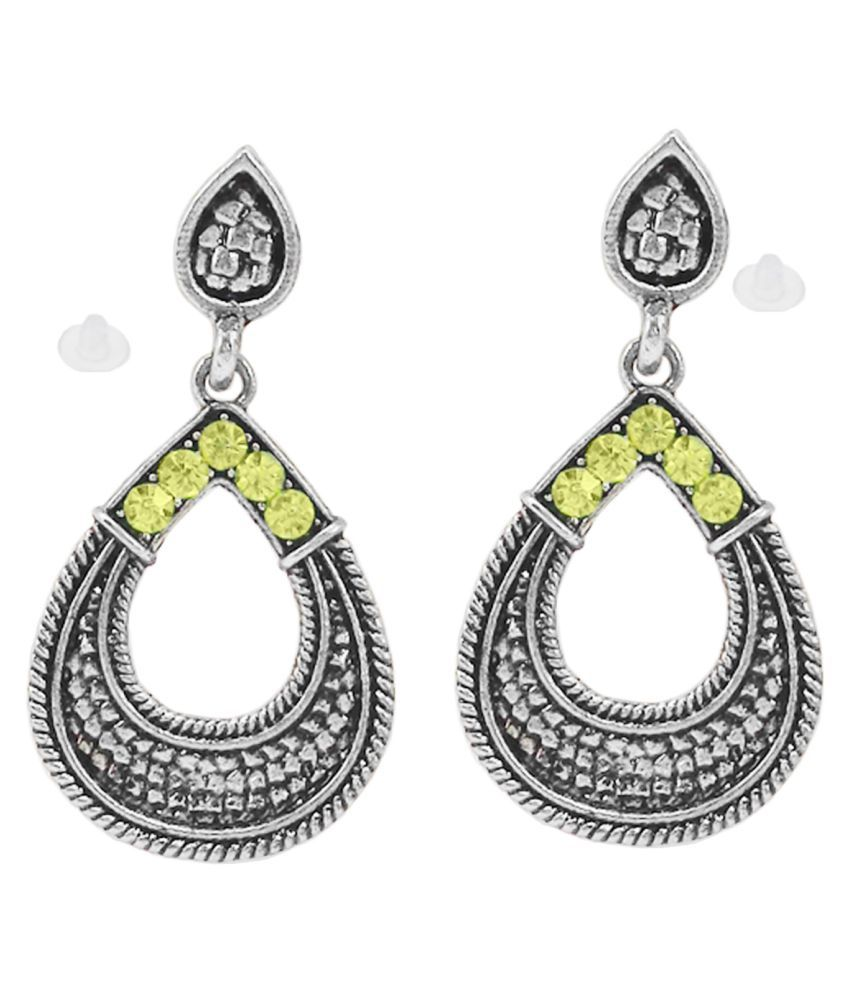 SlksIndia Craft-New Bollywood Designer and Anniversary or Partywear Yellow Earrings
