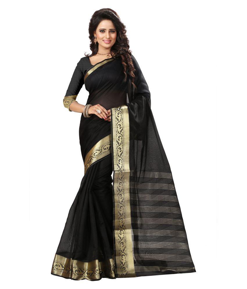 VastraParidhan Black Cotton Silk Saree