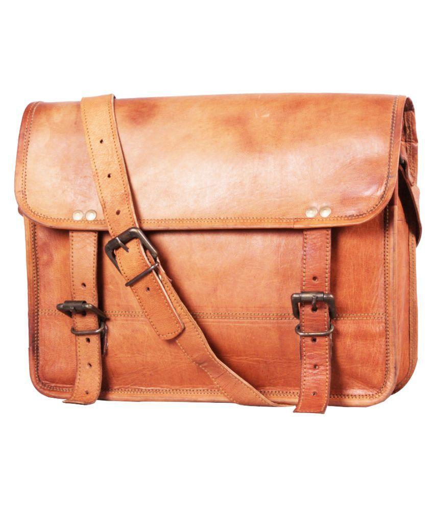 Hrone Vintage Brown Leather Casual Messenger Bag