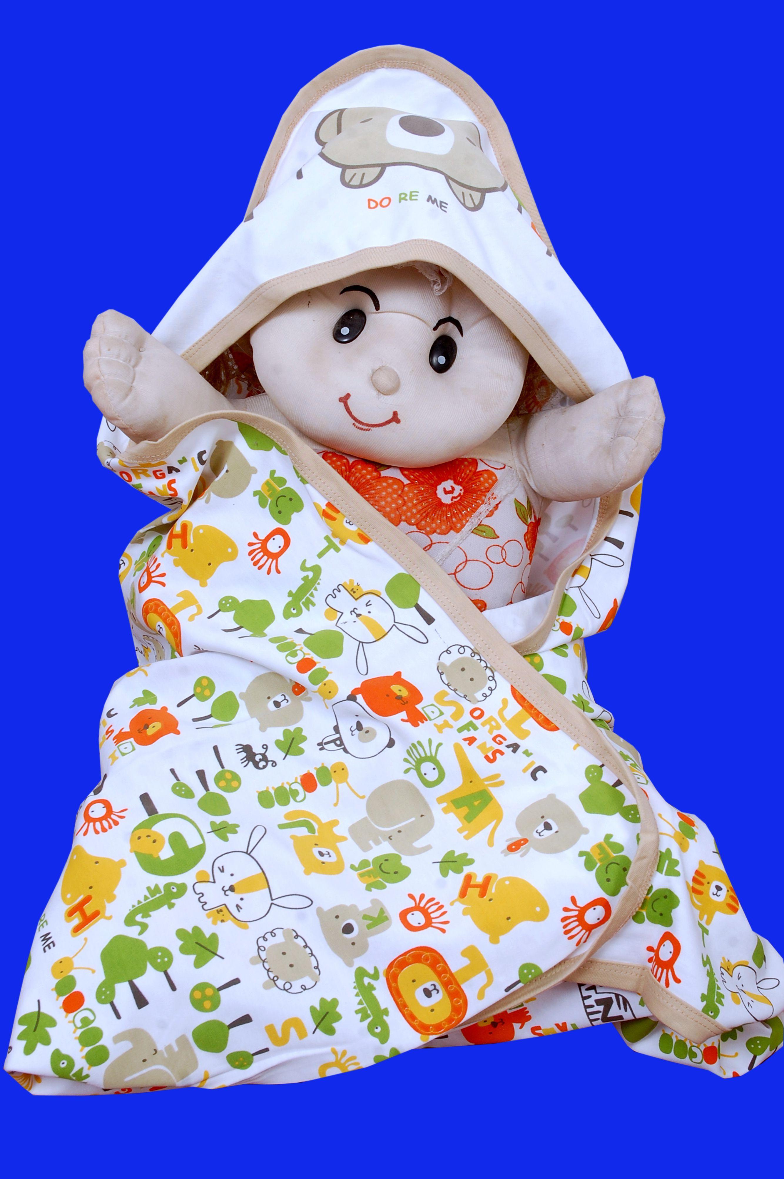 GURU KRIPA BABY PRODUCTS Multi-Colour Cotton Baby Wrap cum blanket ( 60 cm × 50 cm - 1 pcs)