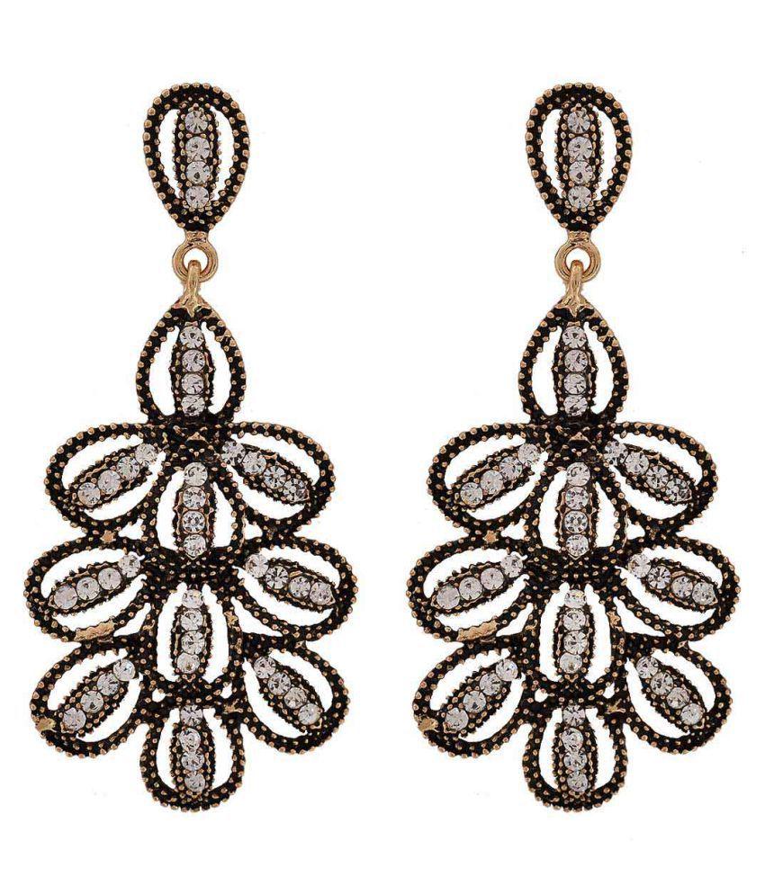 Maayra Women Earrings Party Alloy Dangler Drop Black Sparkling Flower
