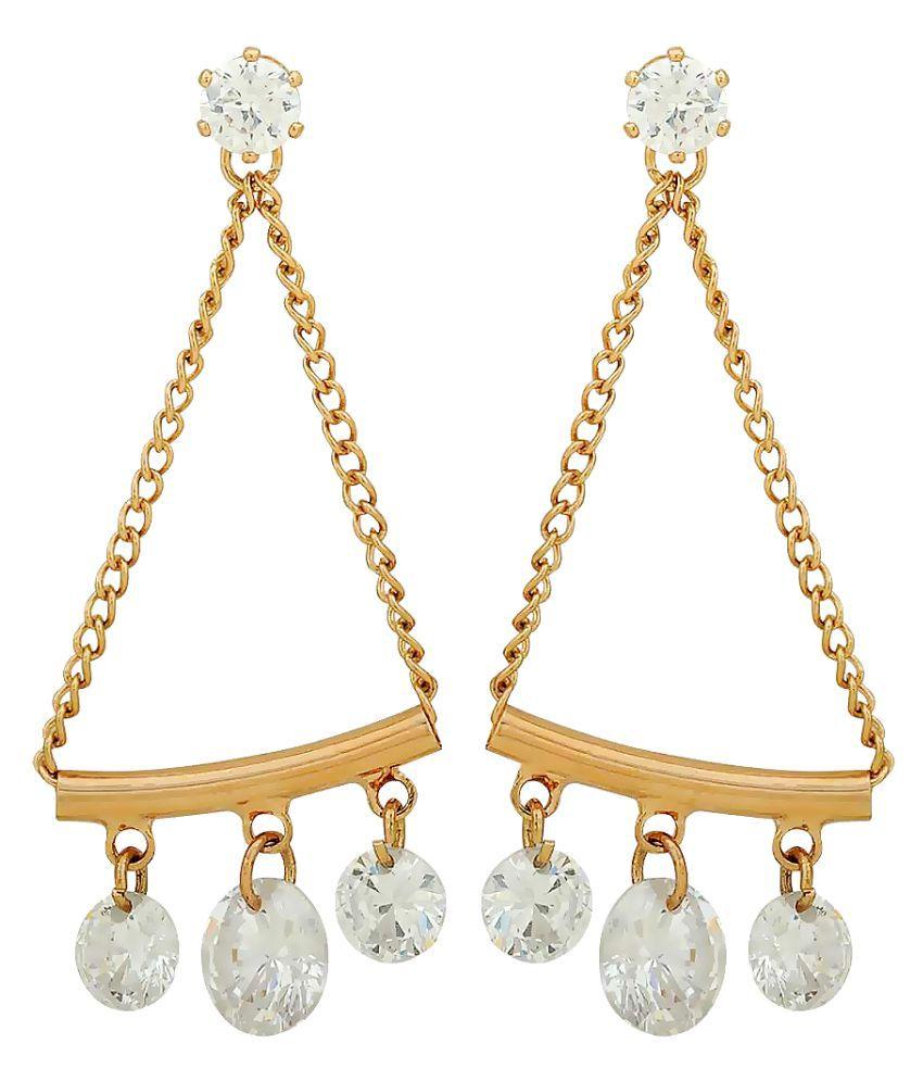 Maayra Women Earrings Party Alloy Dangler Drop Bronze CZ Hanging