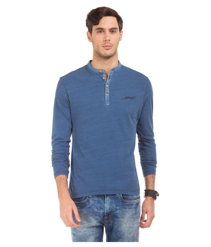 Ed Hardy Blue Henley T-Shirt