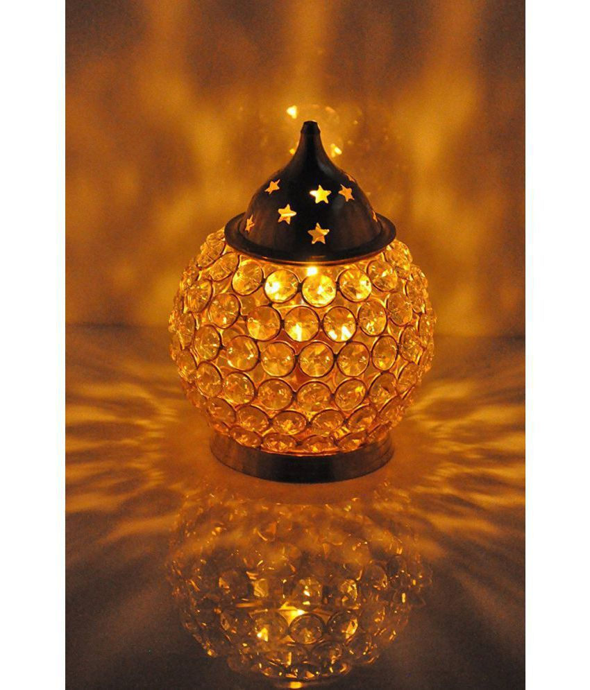 Collectible India 14 Cm Large Metal Tea Lamp - Pack of 1