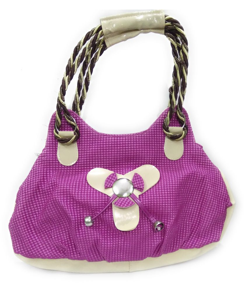 AZED Collections Purple Artificial Leather Shoulder Bag