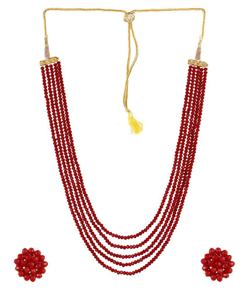 Aabhu Designer Handmade Crystal Multi strand Traditional Jewellery Necklace Chain Set With Earrings For Women And Girl