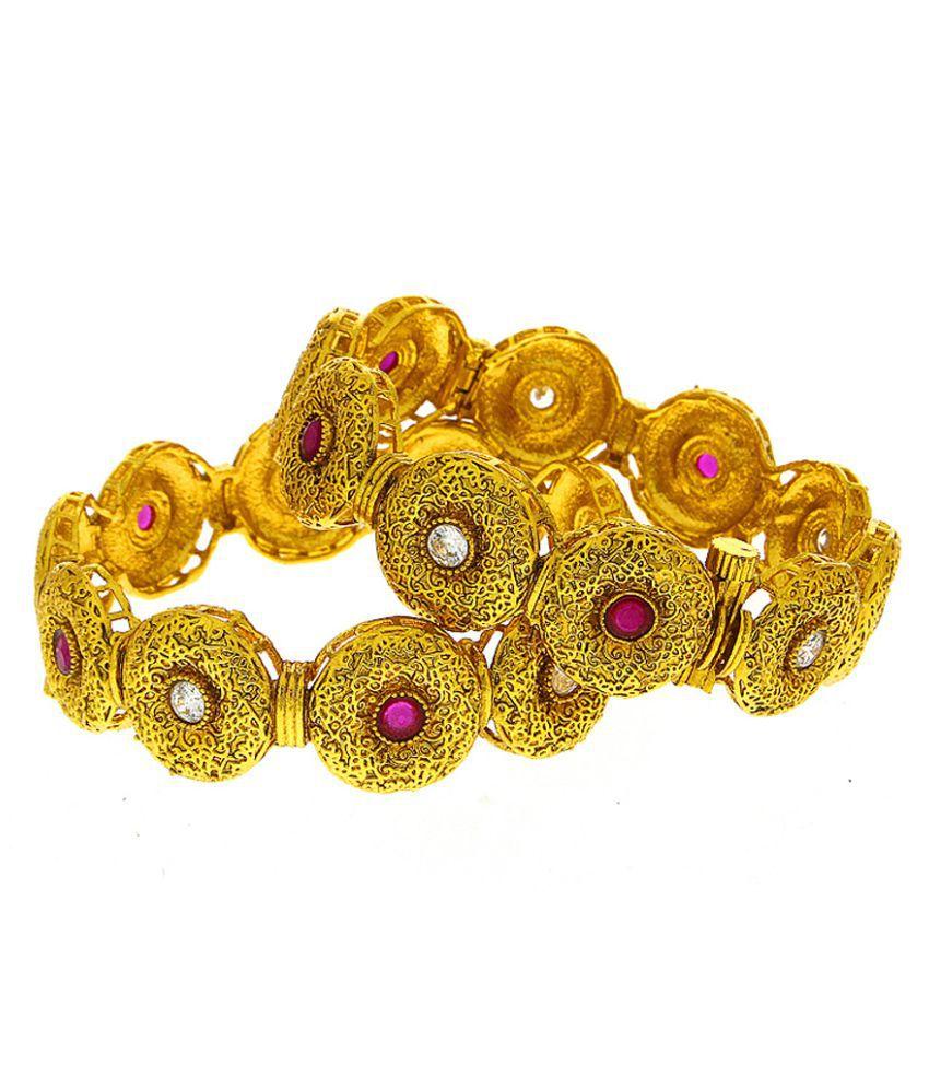 Anuradha Art Golden Finish Round Shape Designer Traditional Kada/Bangles Set For Women/Girls