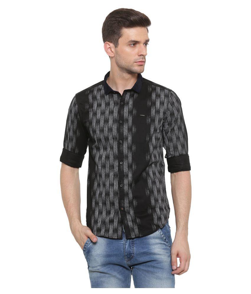 SHOWOFF Black Casual Slim Fit Shirt
