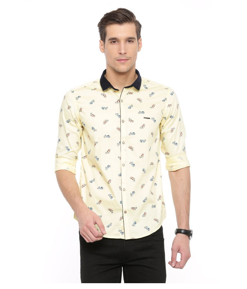 SHOWOFF Yellow Casual Slim Fit Shirt