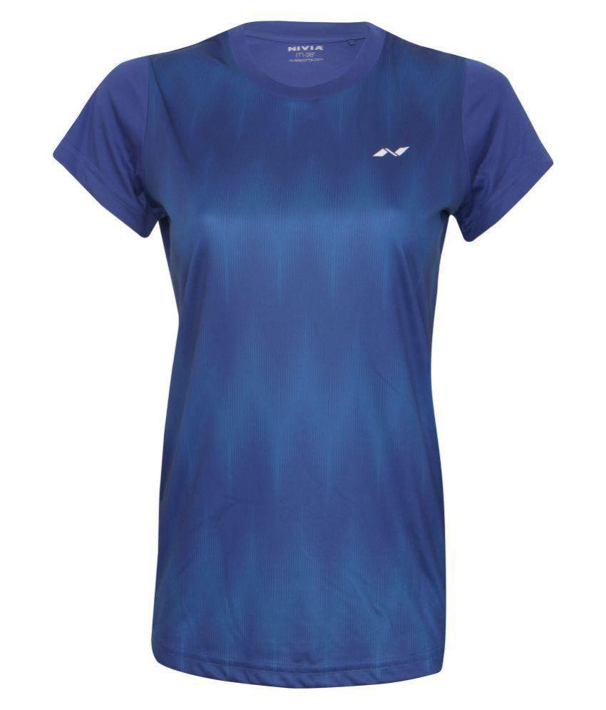Nivia Polyester Blue T-Shirts-2356M1