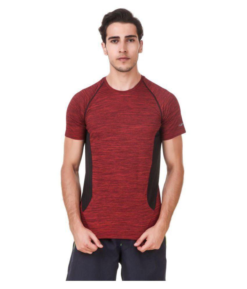 Nivia Maroon Polyester T-Shirt