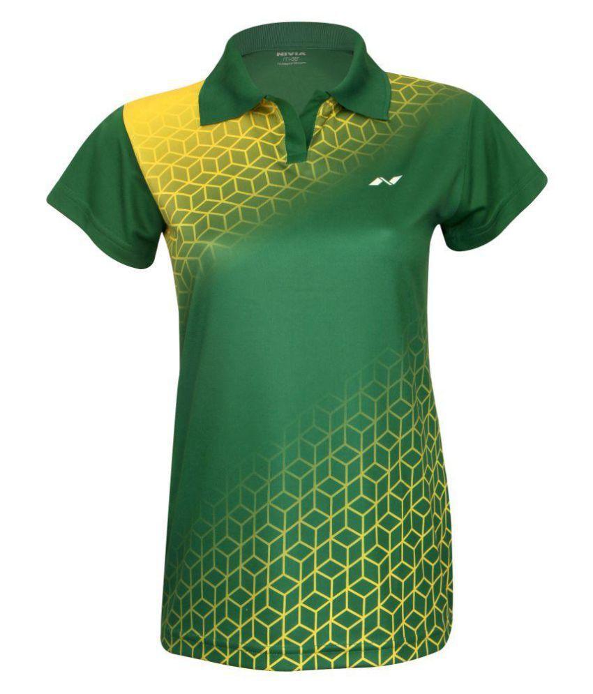Nivia Polyester Green Polos-2357S2