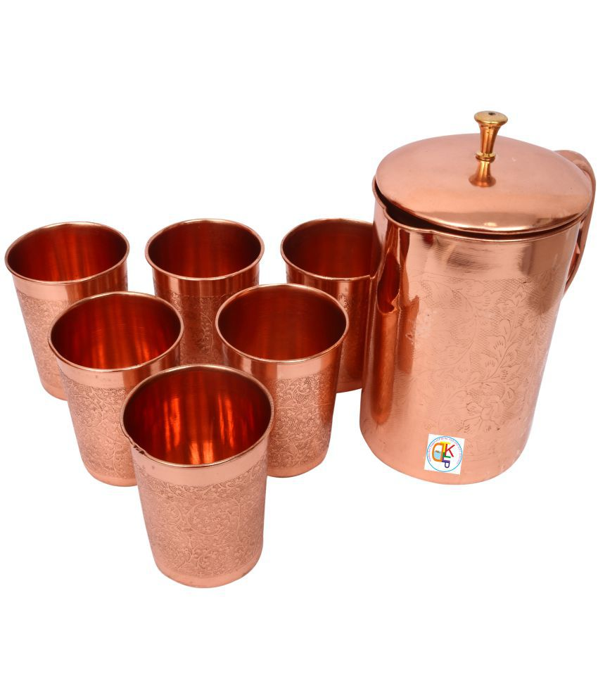 KDT Brown 1200 ml Engraved Copper Jug & 6 Glass Combo (20x10x20cms )