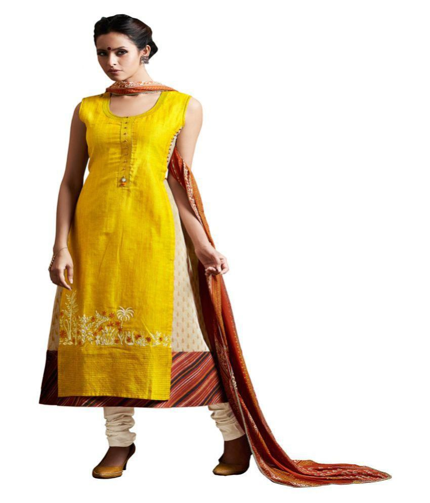 PAYAL Yellow Cotton A-line Stitched Suit