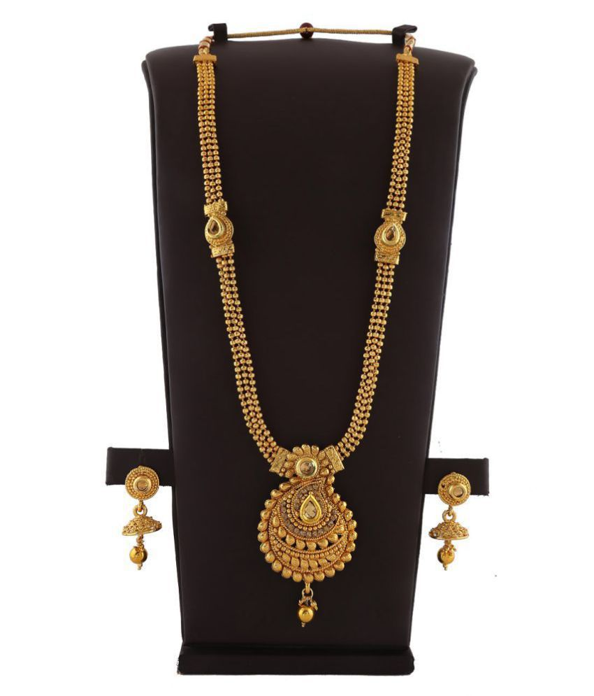Anuradha Art Styled With Golden Sparkling Stone & Kundan Classy Wonderful Traditional Long Necklace For Women/Girls