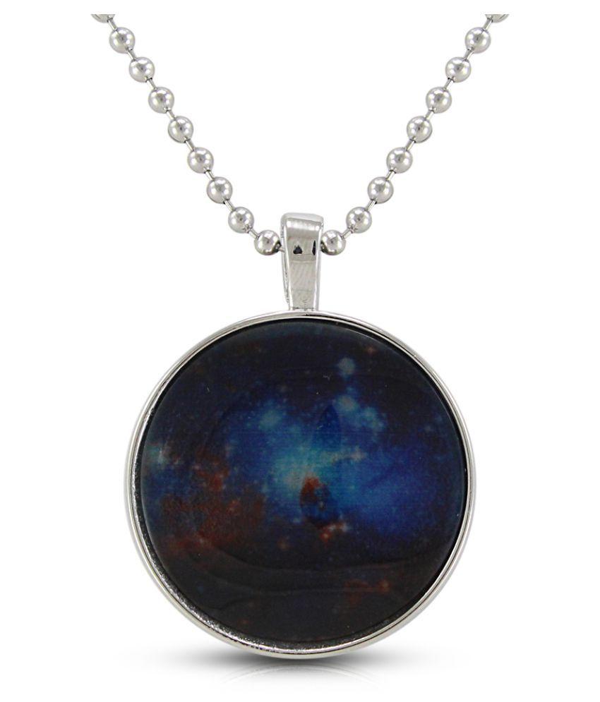Diva Fancy Blue Colour Platinum Plated Necklace