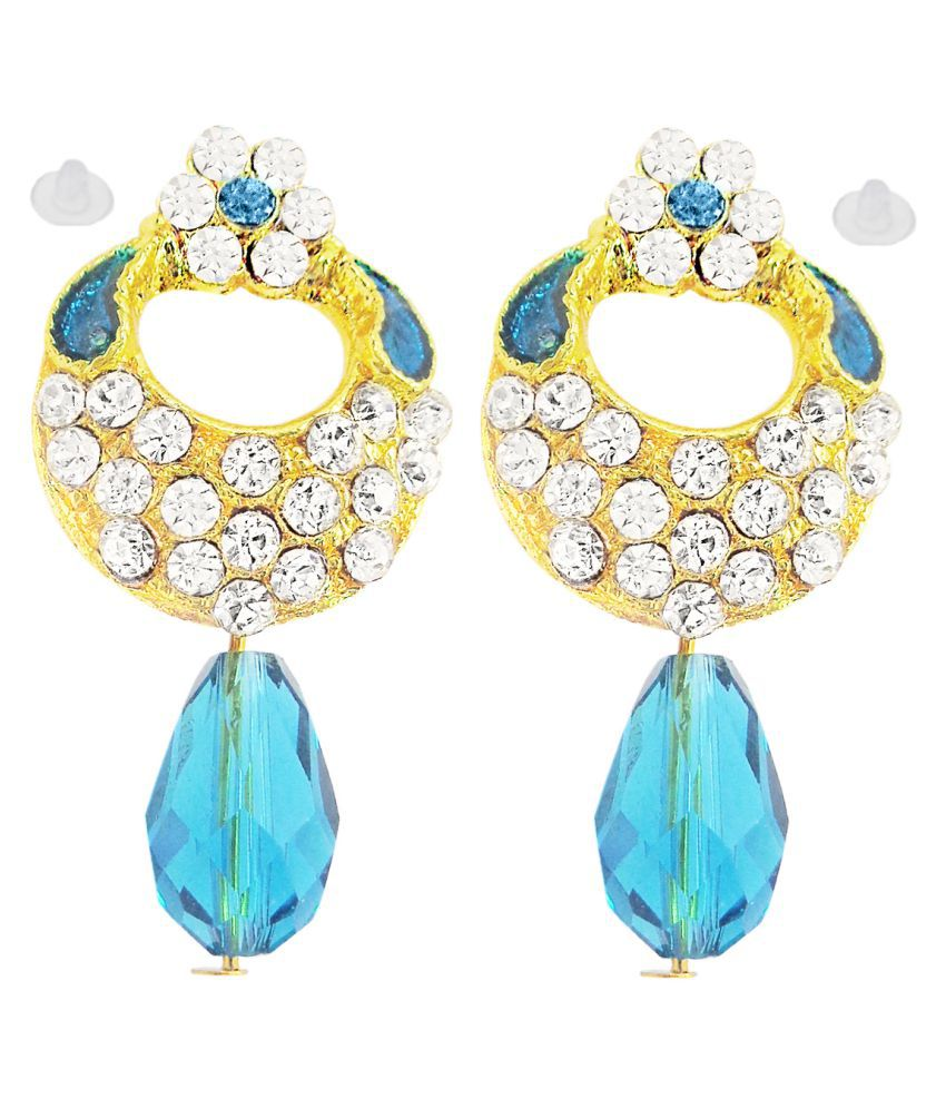 Slamay Fashion Gold Plated Blue Dangle & Drop Party Wear Earrings Gift For Women